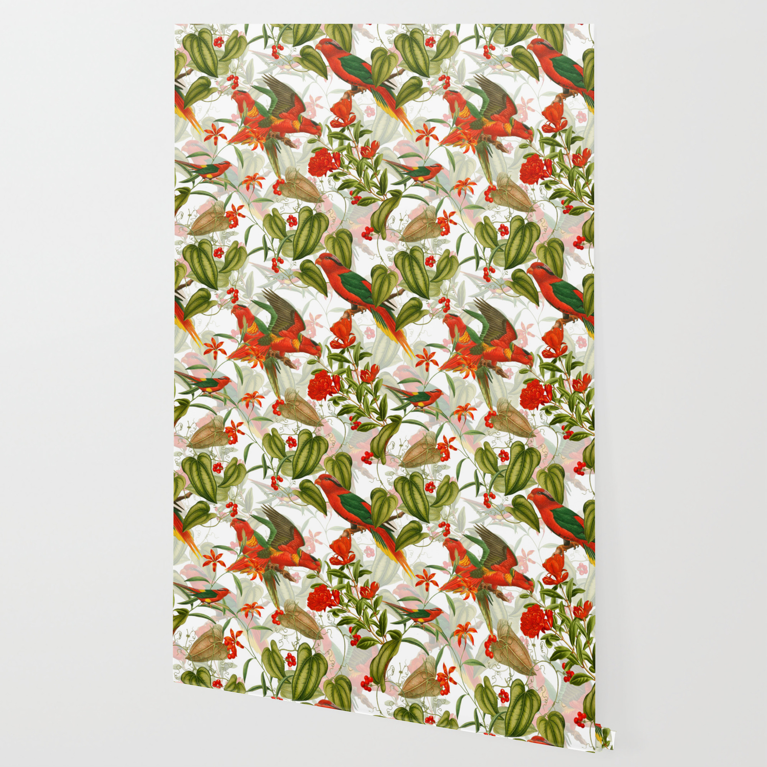 Vintage Shabby Chic Birds In Flower Jungle Wallpaper By