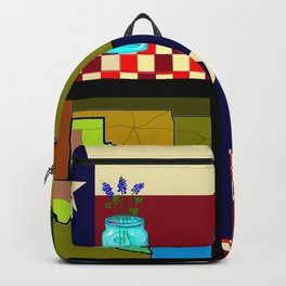 A Texas Quilt, State Flag and Blue Bonnets Backpack