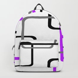 Geometric Rounded Rectangles Collage Purple Backpack