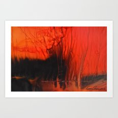 Red Sky On Fire Art Print