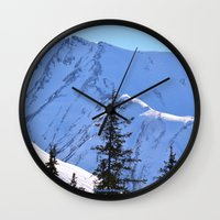 skiing Wall Clocks featuring Back-Country Skiing  - V by Alaskan Momma Bear