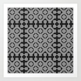 Chinese style grid pattern in black & white Art Print