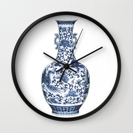 Blue & White Chinoiserie Porcelain Floral Vase with Flying Phoenix Wall Clock