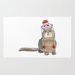 Sock monkey hat cat Rug