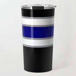 Team Colors 2....blue double gray white..stripes Travel Mug