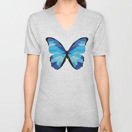 Blue butterfly Low polly artwork Geometric Blues art Unisex V-Neck