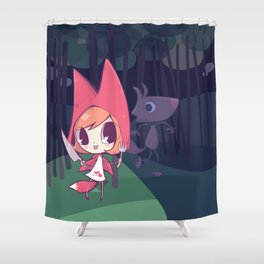 Red Riding Fox have big teeth Shower Curtain