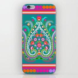 folk turquoise damask iPhone Skin