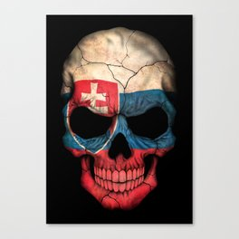 Dark Skull with Flag of Slovakia Canvas Print