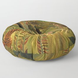 Tiger in a Tropical Storm - Surprised! by Henri Rousseau Floor Pillow