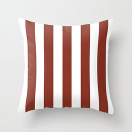 Burnt umber brown - solid color - white vertical lines pattern Throw Pillow