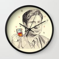mulder Wall Clocks featuring Mulder by withapencilinhand