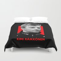formula 1 Duvet Covers featuring Formula One - Kimi Raikkonen by Vehicle