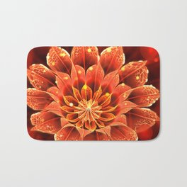 Red Dahlia Fractal Flower with Beautiful Bokeh (Vivid Crimson) Bath Mat