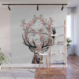 Deer and Flowers Wall Mural