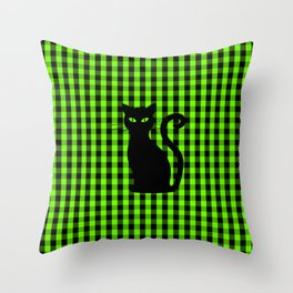 Black Cat on Luminous Green and Black Gingham Check Throw Pillow