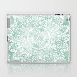 BOHEMIAN FLOWER MANDALA IN TEAL Laptop & iPad Skin
