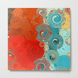Red and Turquoise Swirls Metal Print