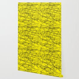 Yellow with black scribbling lines, less is more Wallpaper