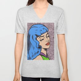 Blue Bangs Crying Girl Unisex V-Neck