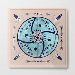 Sheltering Moon Native Symbols Mandala Metal Print