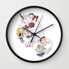 teens and wolves and unicorns Wall Clock