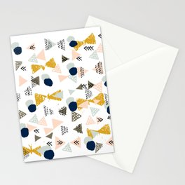 Minimal modern color palette navy gold abstract art painted dots pattern Stationery Cards