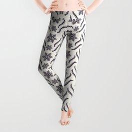 Hand drawn abstract winter snowflakes border pattern. Leggings