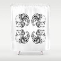 clockwork Shower Curtains featuring clockwork elephant by vasodelirium