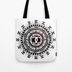 Designer Fashion Black and White Floral High-End Couture Mandala Tote Bag