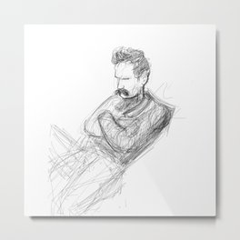A Man in Thought Metal Print