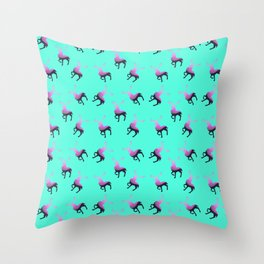 Pink elk silhouettes against turquoise green background pattern design Throw Pillow