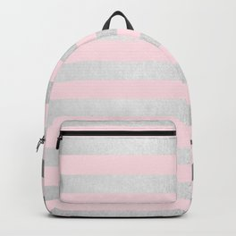 Stripes Moonlight Silver on Flamingo Pink Backpack