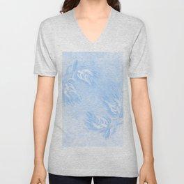 Delicate wattle bouquet in blue Unisex V-Neck
