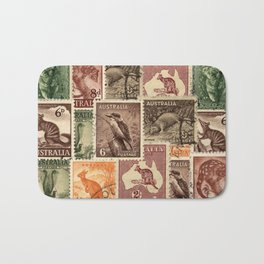 Vintage Australian Postage Stamps Collection Bath Mat