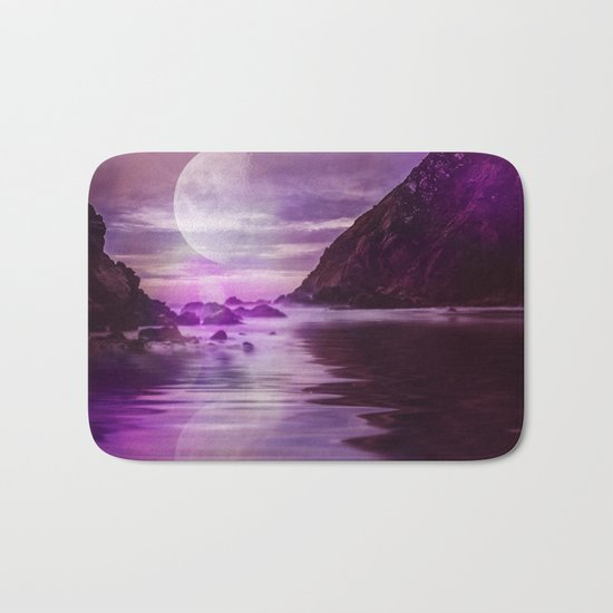 Full Moon over Calm Waters in purple Light Bath Mat