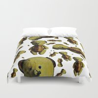 teddy bear Duvet Covers featuring Teddy-bear by Кaterina Кalinich