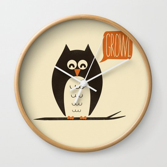 An Owl With a Growl Wall Clock