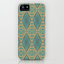Teal Turquoise Caramel Coffee Brown Rustic Native American Indian Cabin Mosaic Pattern iPhone Case