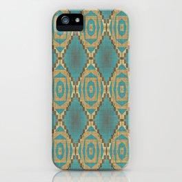 Teal Turquoise Khaki Brown Rustic Mosaic Pattern iPhone Case