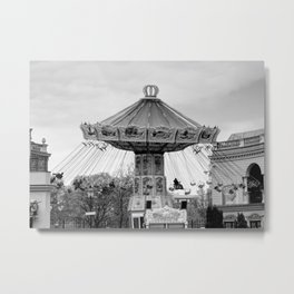 Carousel black and white #carousel #blackandwhite Metal Print
