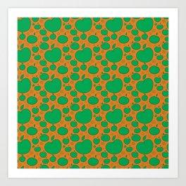 simple green apple patten on orange Art Print