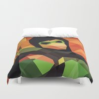 dc comics Duvet Covers featuring DC Comics Green Arrow by Eric Dufresne
