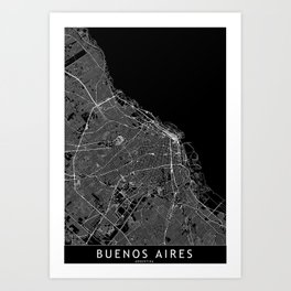 Buenos Aires Black Map Art Print