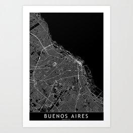Buenos Aires Black Map Art Print