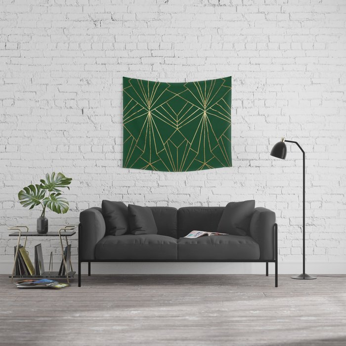 Art Deco in Gold & Green - Large Scale Wall Tapestry