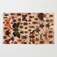 bugs Area & Throw Rugs featuring Love Bugs by Angela Rizza
