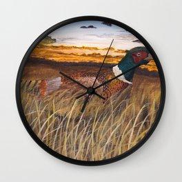 Pheasant at sunset Wall Clock