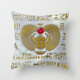 Egyptian Scarab Beetle Gold and Ruby Stone Throw Pillow