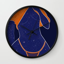 NEED SOME SPACE - Illustration, Space, Galaxy, Girl Wall Clock